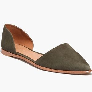 Madewell Arielle Green Suede d'Orsay flats